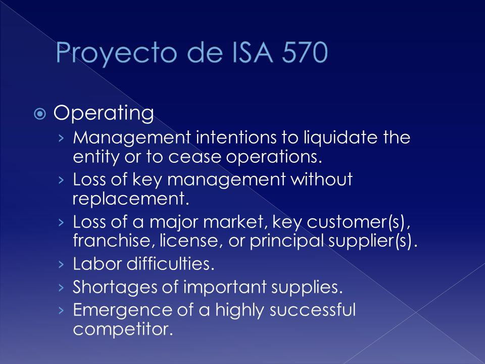 Operating Management intentions to liquidate the entity or to cease operations.