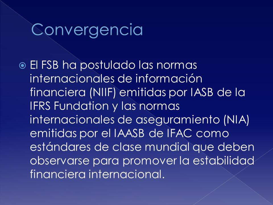 El FSB ha postulado las normas internacionales de información financiera (NIIF) emitidas por IASB de la IFRS Fundation y las normas internacionales de