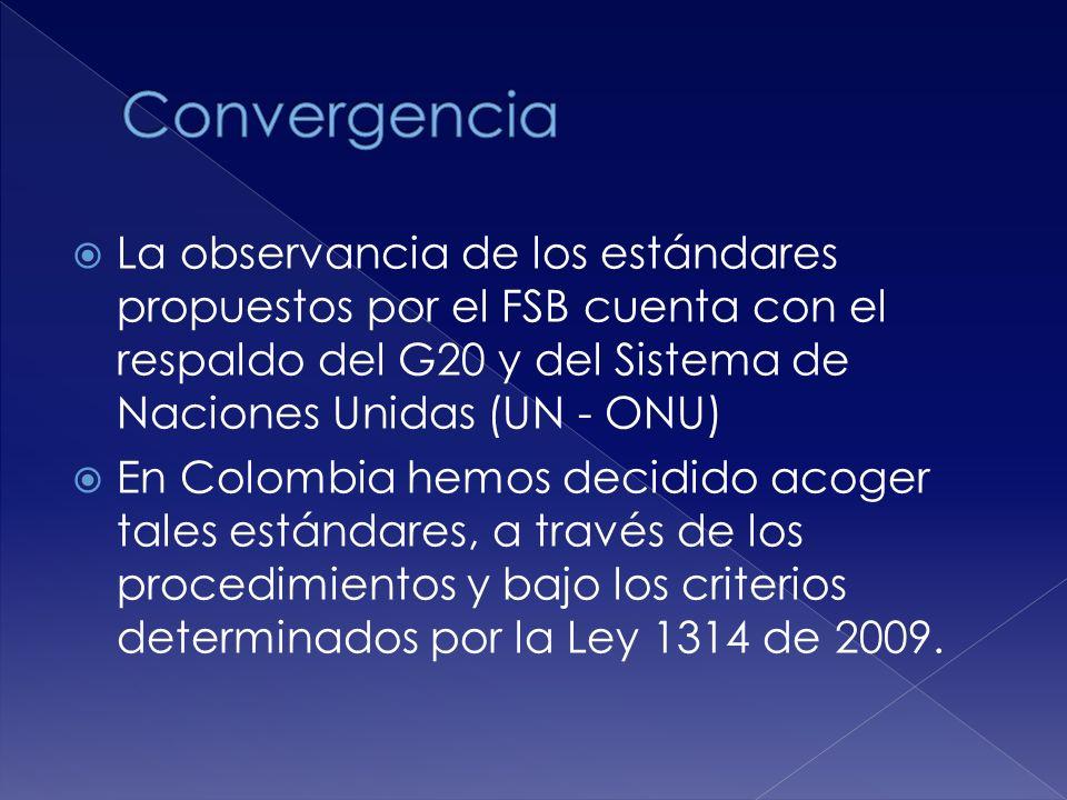 La observancia de los estándares propuestos por el FSB cuenta con el respaldo del G20 y del Sistema de Naciones Unidas (UN - ONU) En Colombia hemos decidido acoger tales estándares, a través de los procedimientos y bajo los criterios determinados por la Ley 1314 de 2009.