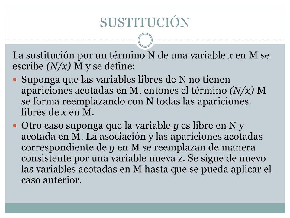 SUSTITUCIÓN La sustitución por un término N de una variable x en M se escribe (N/x) M y se define: Suponga que las variables libres de N no tienen apa