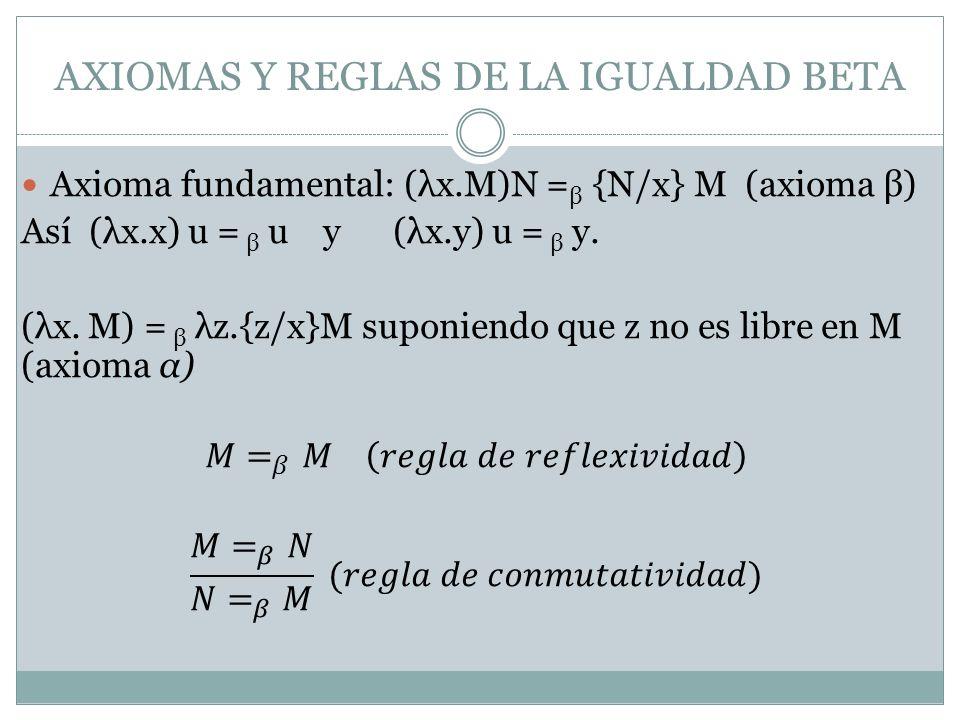AXIOMAS Y REGLAS DE LA IGUALDAD BETA