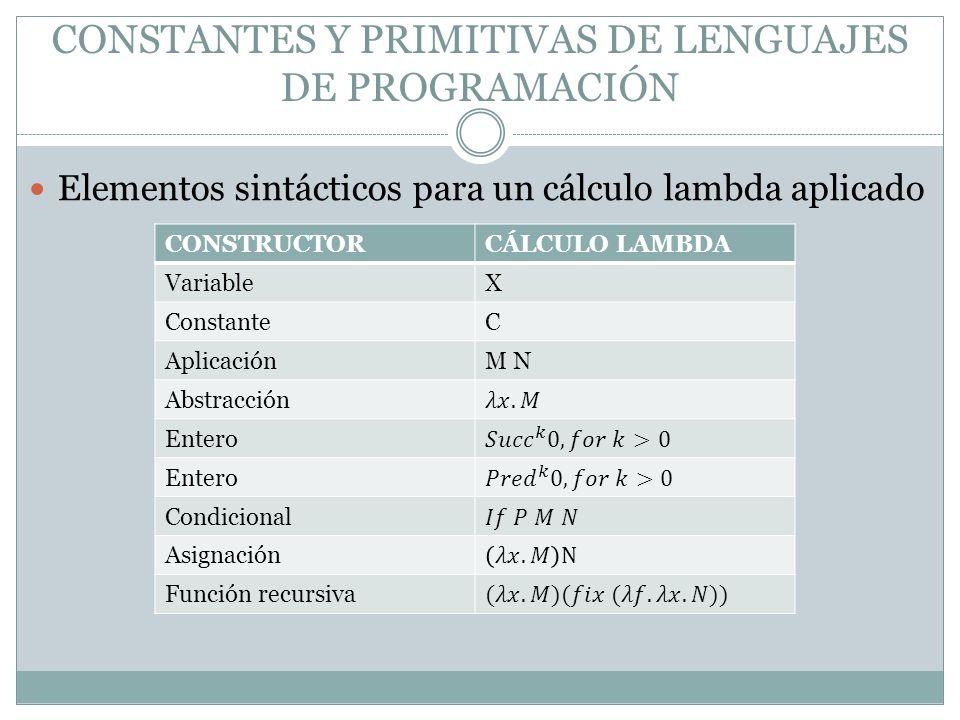 Elementos sintácticos para un cálculo lambda aplicado CONSTRUCTORCÁLCULO LAMBDA VariableX ConstanteC AplicaciónM N Abstracción Entero Condicional Asig