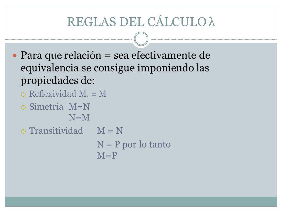 Para que relación = sea efectivamente de equivalencia se consigue imponiendo las propiedades de: Reflexividad M. = M Simetría M=N N=M Transitividad M