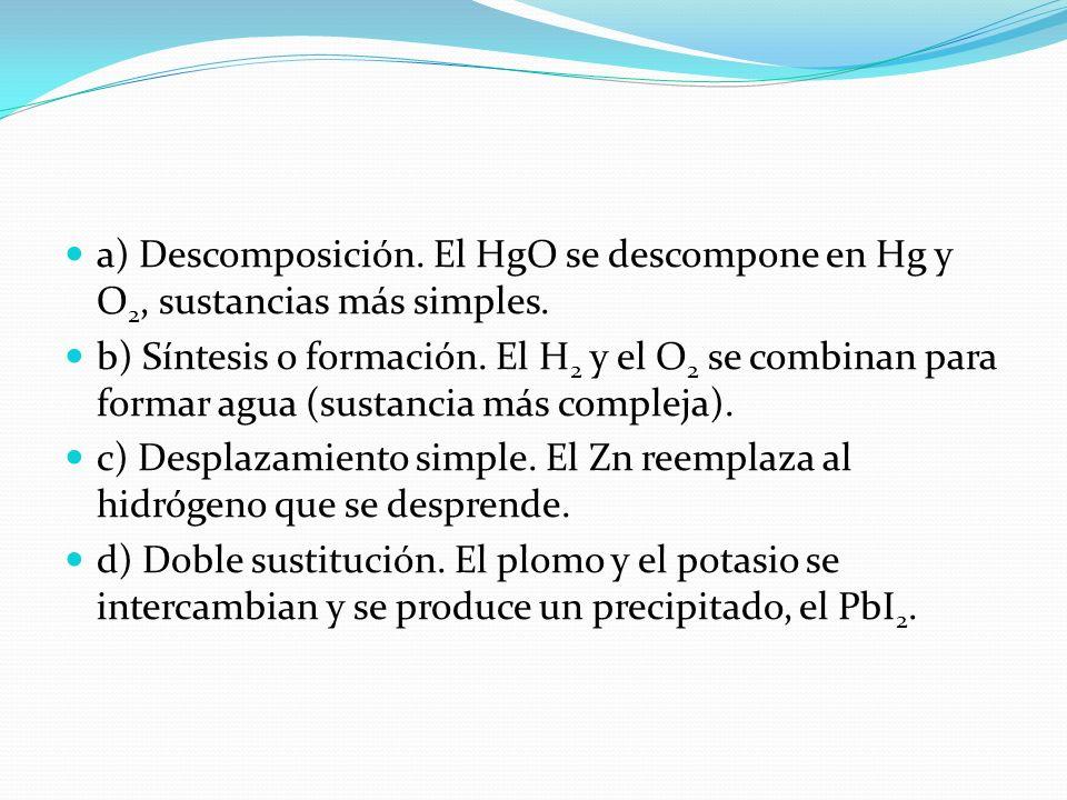 a) Descomposición. El HgO se descompone en Hg y O 2, sustancias más simples. b) Síntesis o formación. El H 2 y el O 2 se combinan para formar agua (su