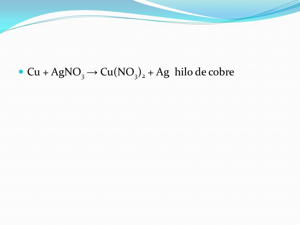 Cu + AgNO 3 Cu(NO 3 ) 2 + Ag hilo de cobre