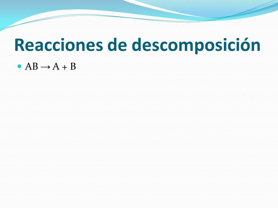 Reacciones de descomposición AB A + B