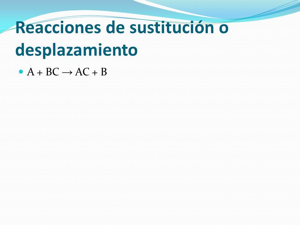 Reacciones de sustitución o desplazamiento A + BC AC + B