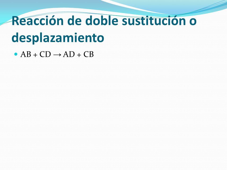 Reacción de doble sustitución o desplazamiento AB + CD AD + CB