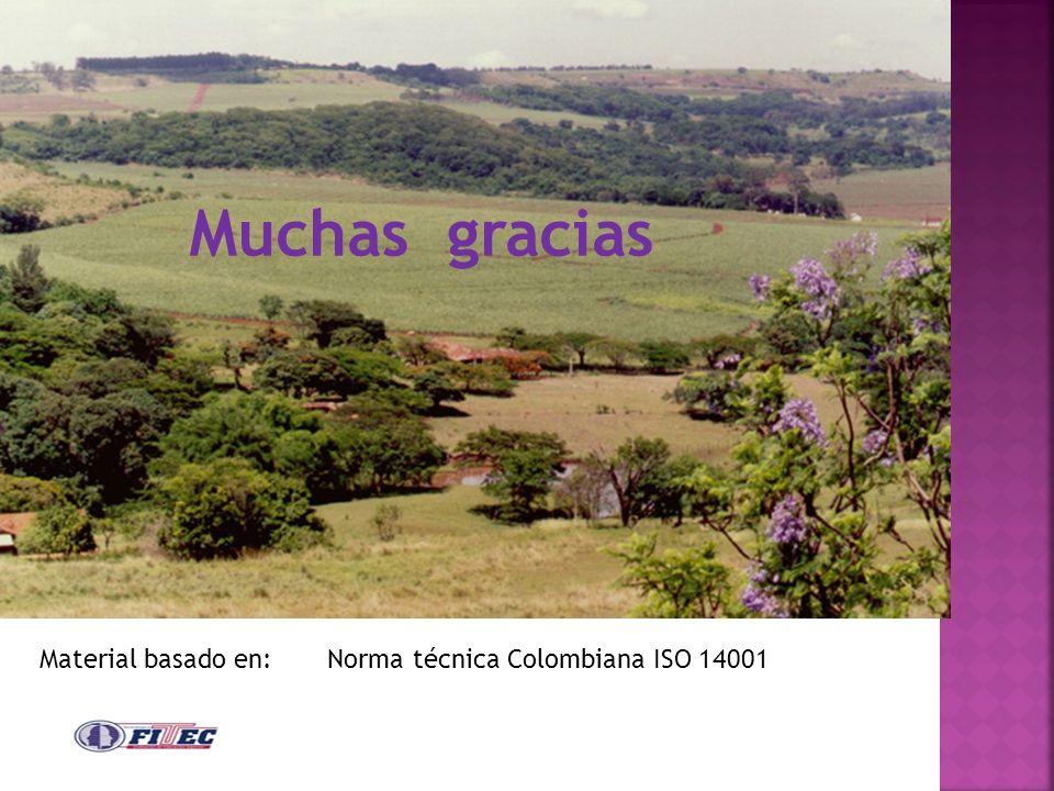 Material basado en: Norma técnica Colombiana ISO 14001 Muchas gracias