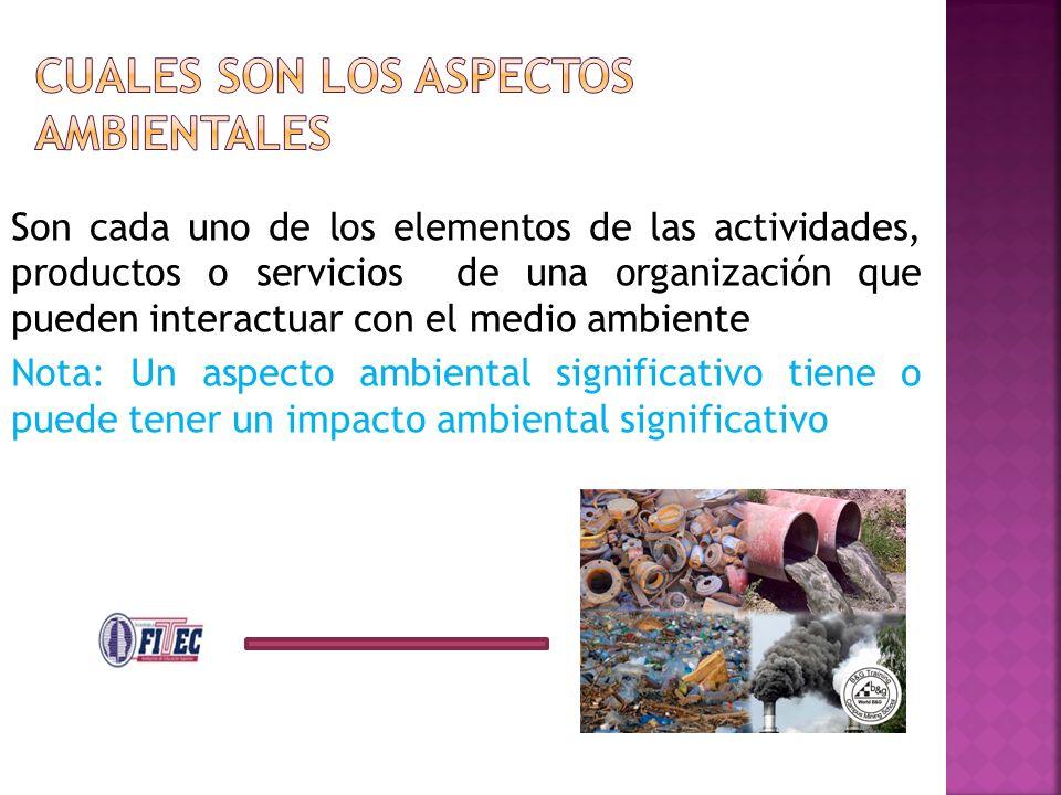 Son cada uno de los elementos de las actividades, productos o servicios de una organización que pueden interactuar con el medio ambiente Nota: Un aspe