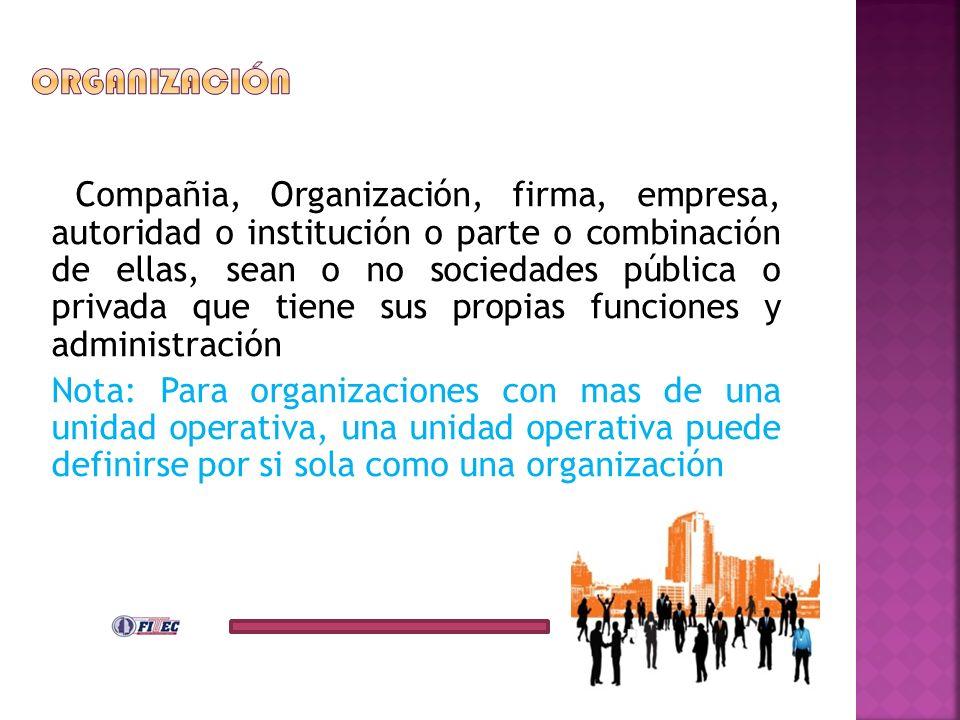 2Co Compañia, Organización, firma, empresa, autoridad o institución o parte o combinación de ellas, sean o no sociedades pública o privada que tiene s