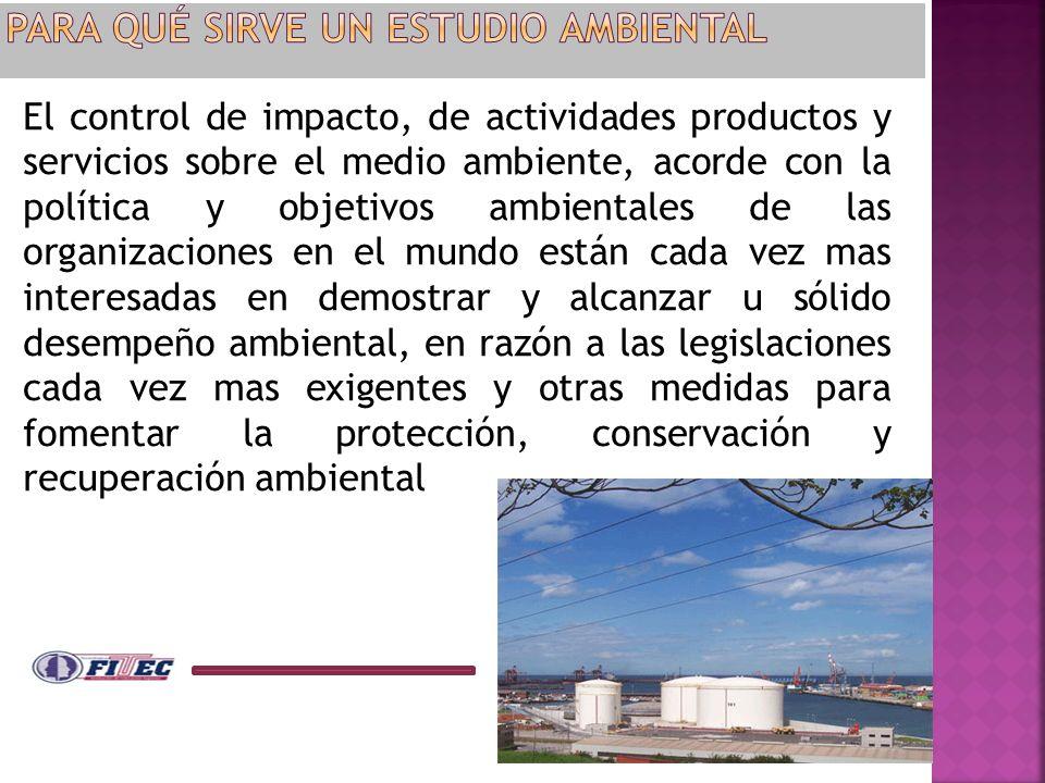 El control de impacto, de actividades productos y servicios sobre el medio ambiente, acorde con la política y objetivos ambientales de las organizacio
