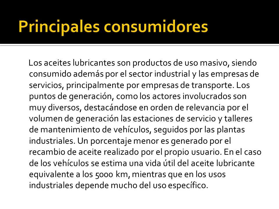 El parque automotriz genera alrededor del 65% del total de aceite usado generado, mientras que el restante 35% es de origen industrial.