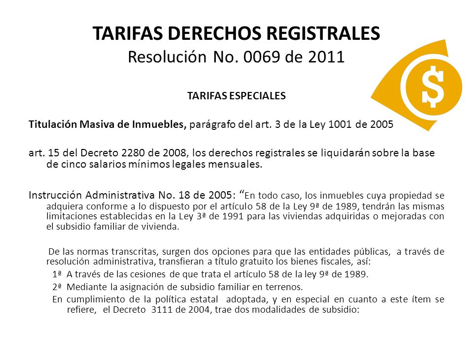 TARIFAS DERECHOS REGISTRALES Resolución No.