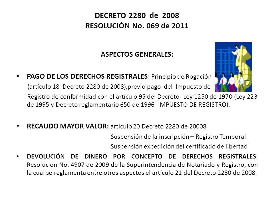 TARIFAS DERECHOS REGISTRALES Resolución No.0069 de 2011 ACTUACIONES REGISTRALES Art.