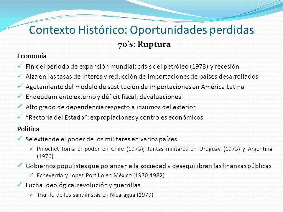 80s: Década perdida Economía La más profunda y prolongada recesión en 50 años: crecimiento promedio de -1% 15 países llegan a tener un déficit en cuentas corrientes superior al 4% de su PIB Inflación desbocada En Brasil y México, niveles superiores a 100%; hiperinflación en Perú (2,775% en 1989) Moratorias y renegociaciones de deuda, comenzando con la de México (1982) Ajustes estructurales y de shock para estabilizar las variables macroeconómicas Liberación de precios y tipo de cambio; inicia apertura comercial Reducción de déficit público, pactos vs.