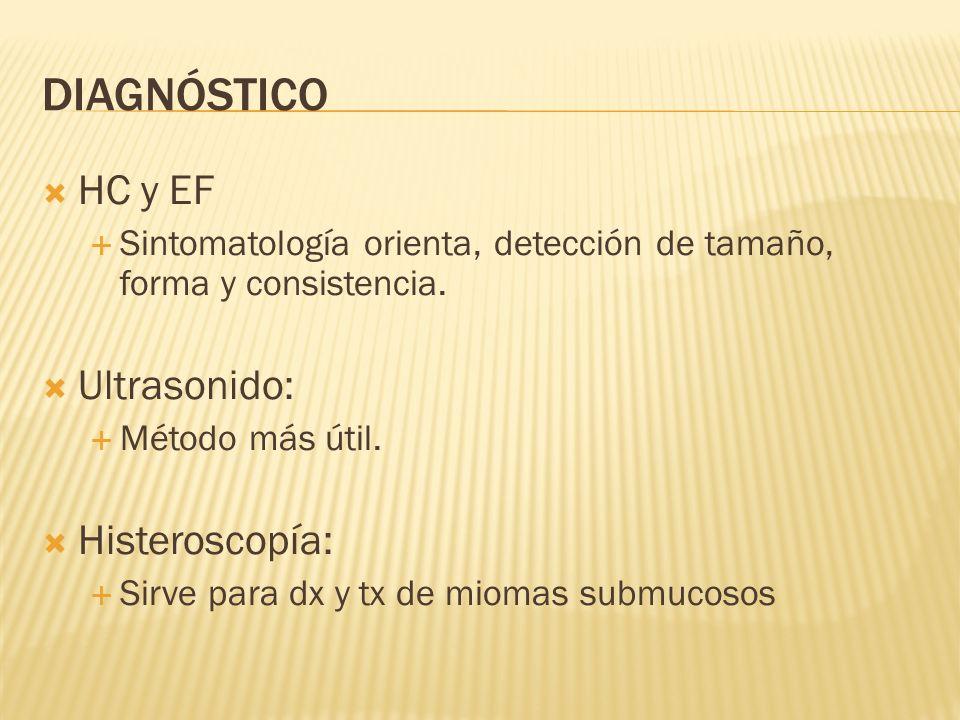 DIAGNÓSTICO HC y EF Sintomatología orienta, detección de tamaño, forma y consistencia. Ultrasonido: Método más útil. Histeroscopía: Sirve para dx y tx