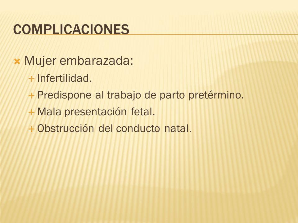 COMPLICACIONES Mujer embarazada: Infertilidad. Predispone al trabajo de parto pretérmino. Mala presentación fetal. Obstrucción del conducto natal.