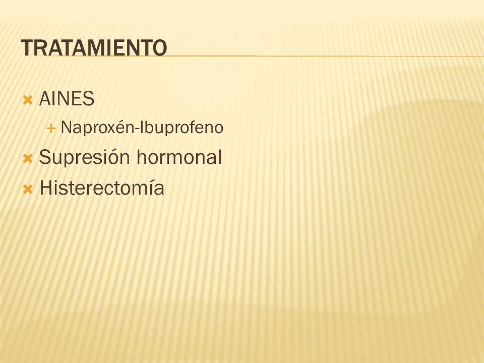 TRATAMIENTO AINES Naproxén-Ibuprofeno Supresión hormonal Histerectomía