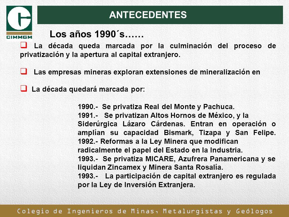 ANTECEDENTES La década queda marcada por la culminación del proceso de privatización y la apertura al capital extranjero. Las empresas mineras explora