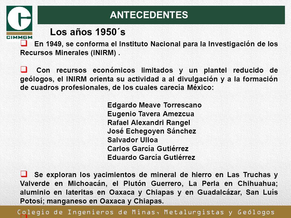 ANTECEDENTES En 1949, se conforma el Instituto Nacional para la Investigación de los Recursos Minerales (INIRM). Con recursos económicos limitados y u