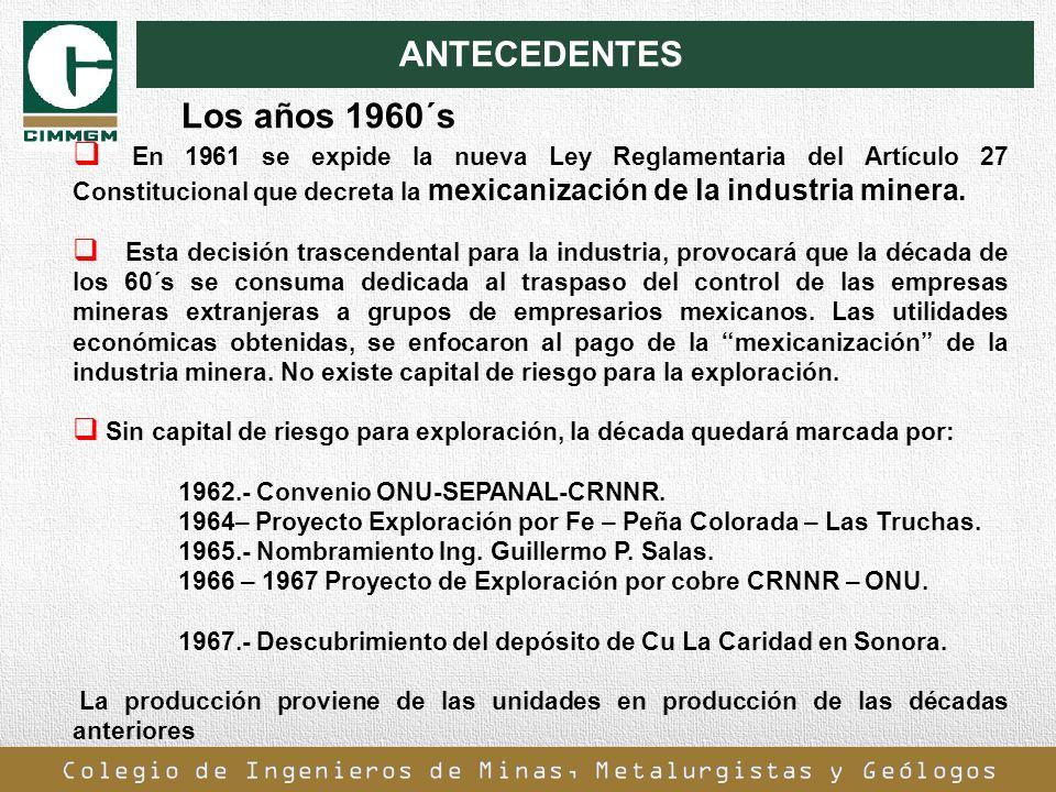 ANTECEDENTES En 1961 se expide la nueva Ley Reglamentaria del Artículo 27 Constitucional que decreta la mexicanización de la industria minera. Esta de