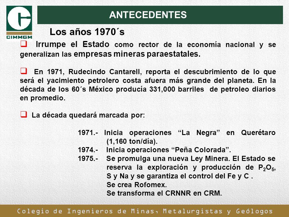 ANTECEDENTES Irrumpe el Estado como rector de la economía nacional y se generalizan las empresas mineras paraestatales. En 1971, Rudecindo Cantarell,