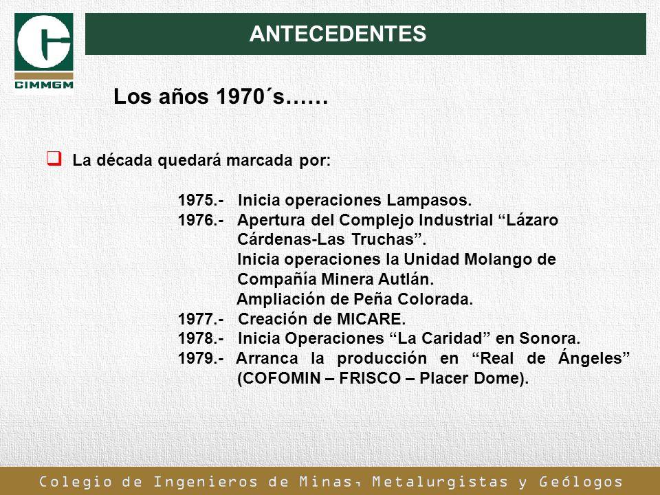 ANTECEDENTES La década quedará marcada por: 1975.- Inicia operaciones Lampasos. 1976.- Apertura del Complejo Industrial Lázaro Cárdenas-Las Truchas. I