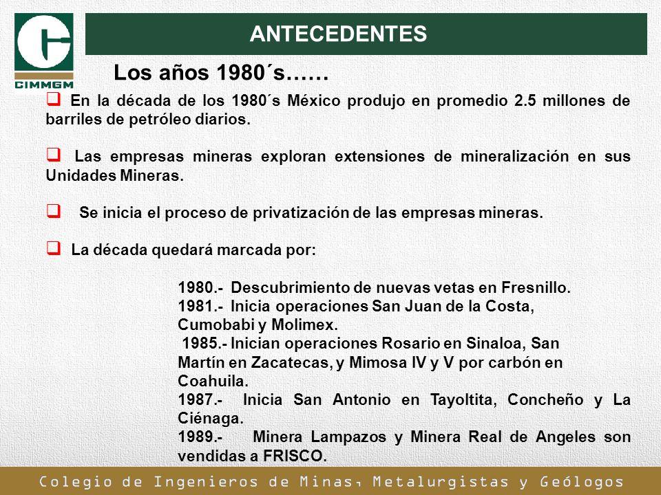 ANTECEDENTES En la década de los 1980´s México produjo en promedio 2.5 millones de barriles de petróleo diarios. Las empresas mineras exploran extensi