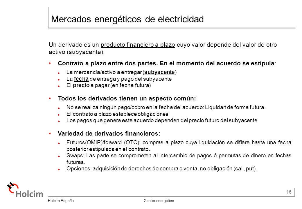 15 Holcim España Gestor energético Mercados energéticos de electricidad Un derivado es un producto financiero a plazo cuyo valor depende del valor de otro activo (subyacente).