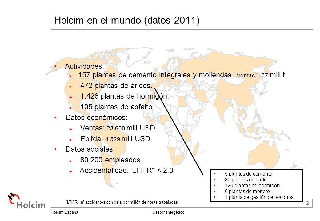 2 Holcim España Gestor energético Holcim en el mundo (datos 2011) * LTIFR: nº accidentes con baja por millón de horas trabajadas Actividades: 157 plantas de cemento integrales y moliendas.