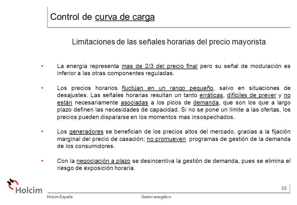 25 Holcim España Gestor energético Control de curva de carga Limitaciones de las señales horarias del precio mayorista La energía representa mas de 2/3 del precio final pero su señal de modulación es inferior a las otras componentes reguladas.