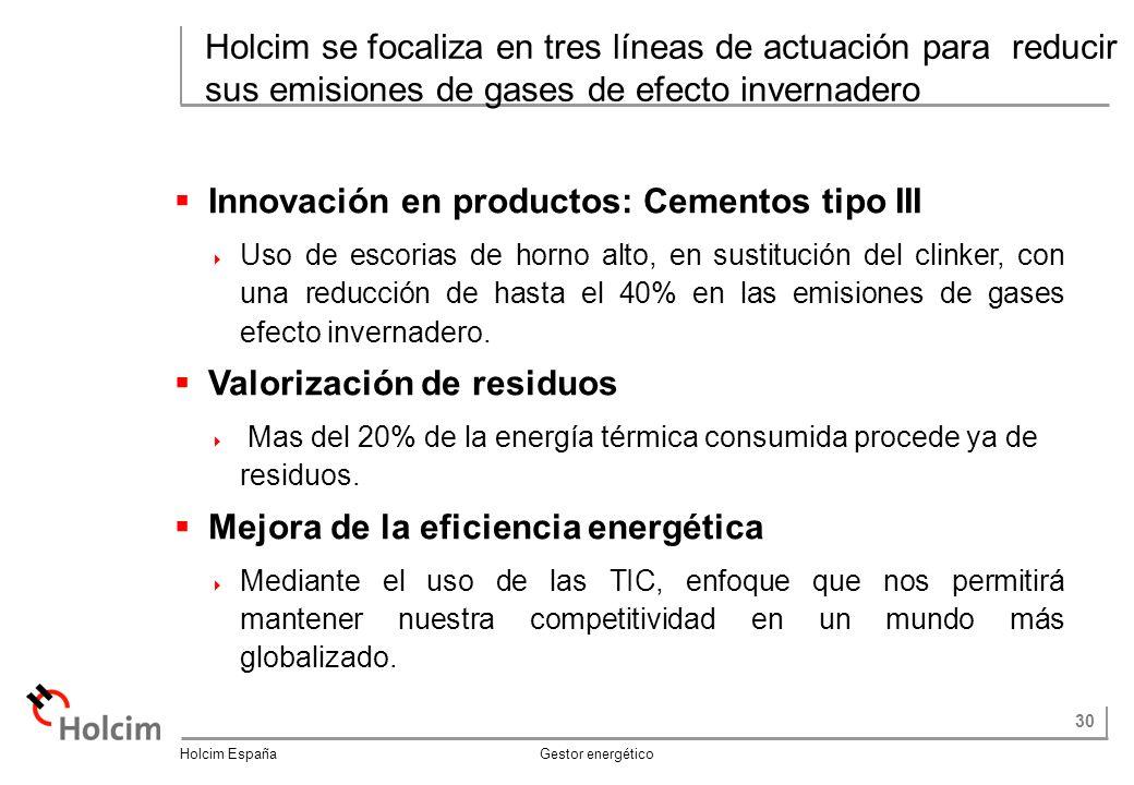 30 Holcim España Gestor energético Holcim se focaliza en tres líneas de actuación para reducir sus emisiones de gases de efecto invernadero Innovación en productos: Cementos tipo III Uso de escorias de horno alto, en sustitución del clinker, con una reducción de hasta el 40% en las emisiones de gases efecto invernadero.