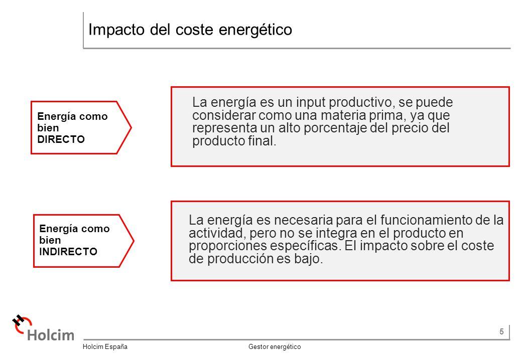 5 Holcim España Gestor energético Impacto del coste energético La energía es necesaria para el funcionamiento de la actividad, pero no se integra en el producto en proporciones específicas.