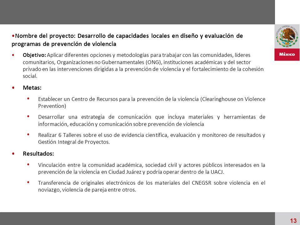 Palacio Nacional 13 Nombre del proyecto: Desarrollo de capacidades locales en diseño y evaluación de programas de prevención de violencia Objetivo: Ap