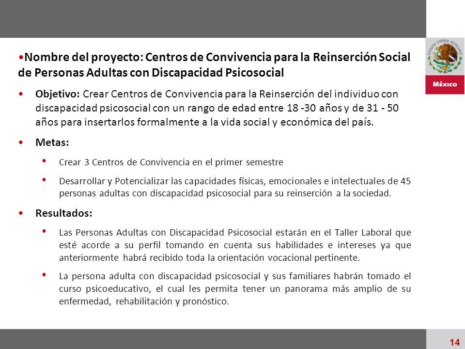 Palacio Nacional 14 Nombre del proyecto: Centros de Convivencia para la Reinserción Social de Personas Adultas con Discapacidad Psicosocial Objetivo: