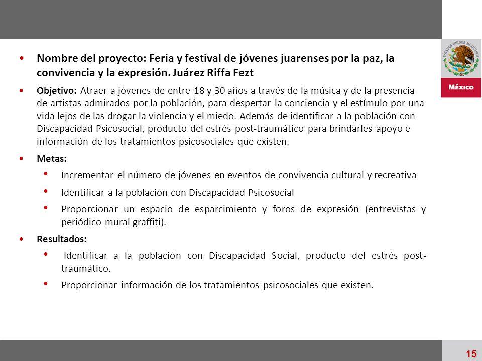Palacio Nacional 15 Nombre del proyecto: Feria y festival de jóvenes juarenses por la paz, la convivencia y la expresión. Juárez Riffa Fezt Objetivo: