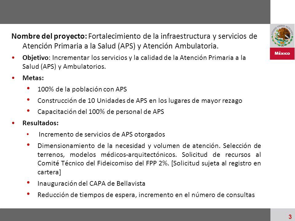 Palacio Nacional 3 Nombre del proyecto: Fortalecimiento de la infraestructura y servicios de Atención Primaria a la Salud (APS) y Atención Ambulatoria