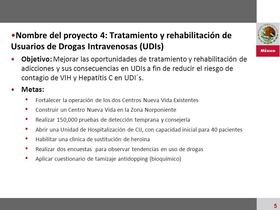 Palacio Nacional 5 Nombre del proyecto 4: Tratamiento y rehabilitación de Usuarios de Drogas Intravenosas (UDIs) Objetivo: Mejorar las oportunidades d