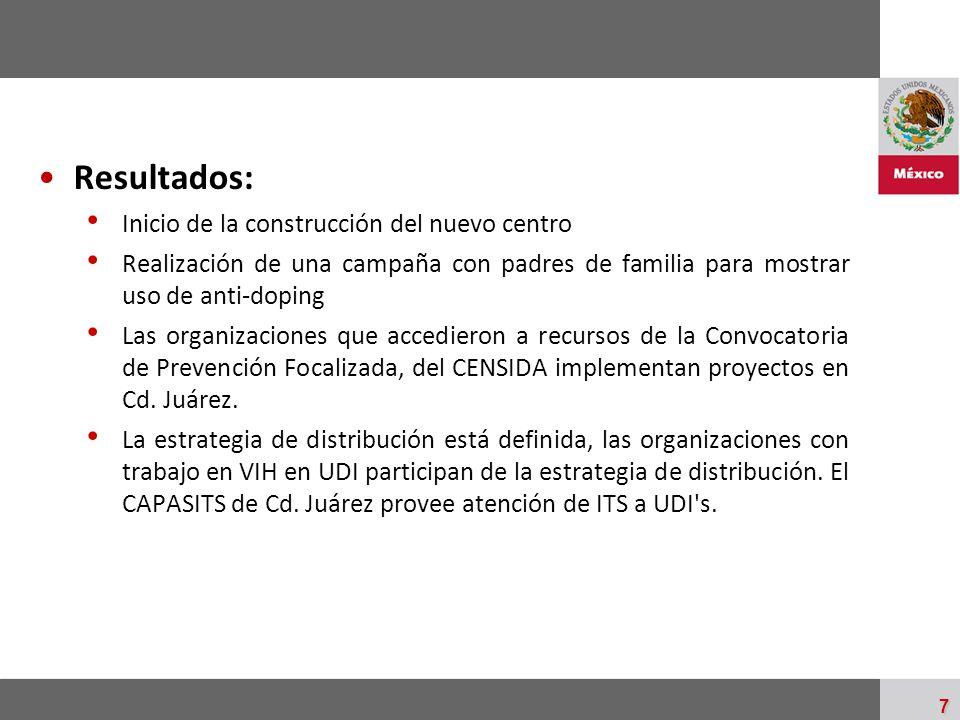 Palacio Nacional 7 Resultados: Inicio de la construcción del nuevo centro Realización de una campaña con padres de familia para mostrar uso de anti-do