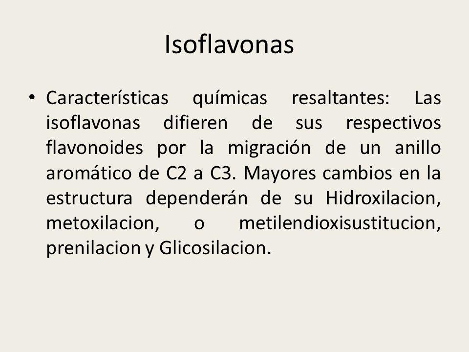 Isoflavonas Características químicas resaltantes: Las isoflavonas difieren de sus respectivos flavonoides por la migración de un anillo aromático de C