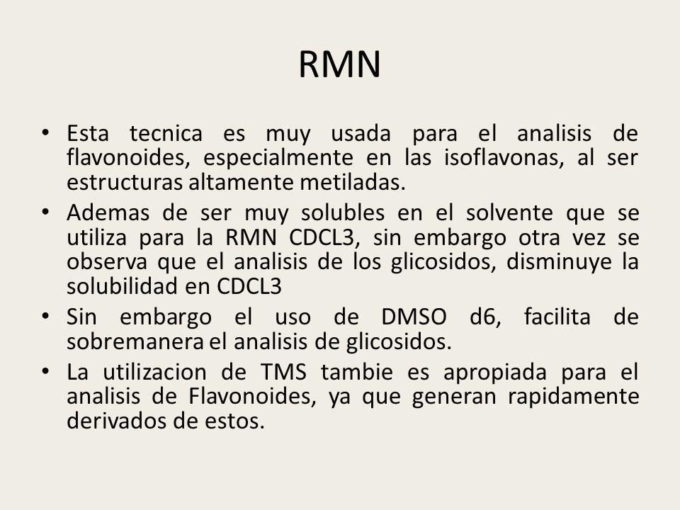 RMN Esta tecnica es muy usada para el analisis de flavonoides, especialmente en las isoflavonas, al ser estructuras altamente metiladas. Ademas de ser