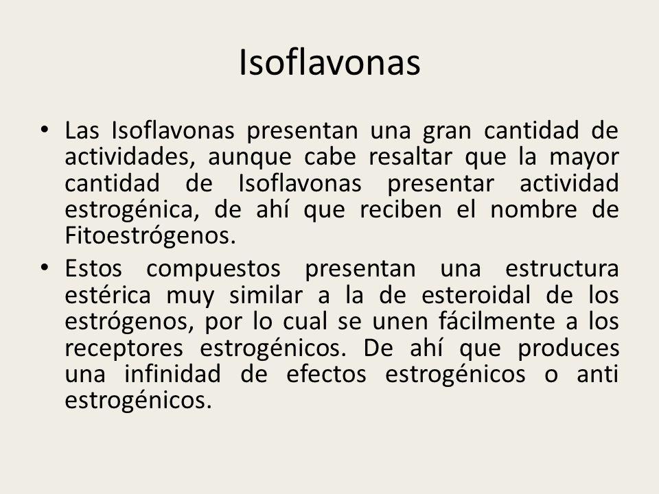 Isoflavonas Las Isoflavonas presentan una gran cantidad de actividades, aunque cabe resaltar que la mayor cantidad de Isoflavonas presentar actividad