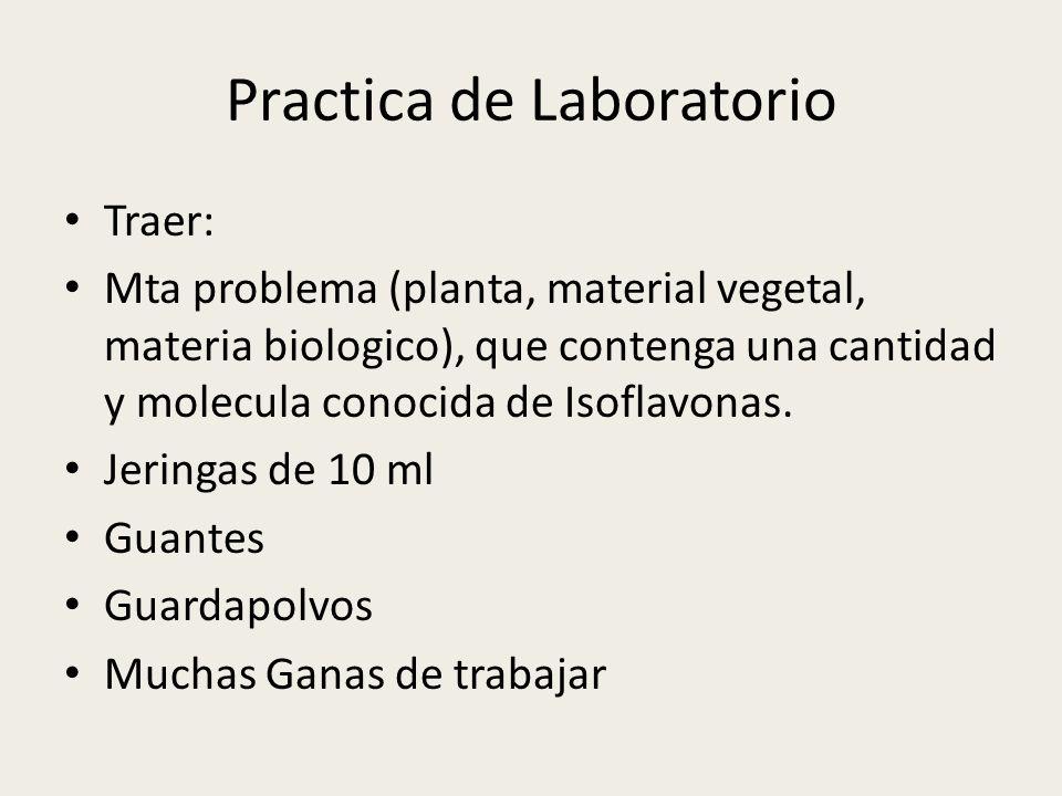Practica de Laboratorio Traer: Mta problema (planta, material vegetal, materia biologico), que contenga una cantidad y molecula conocida de Isoflavona