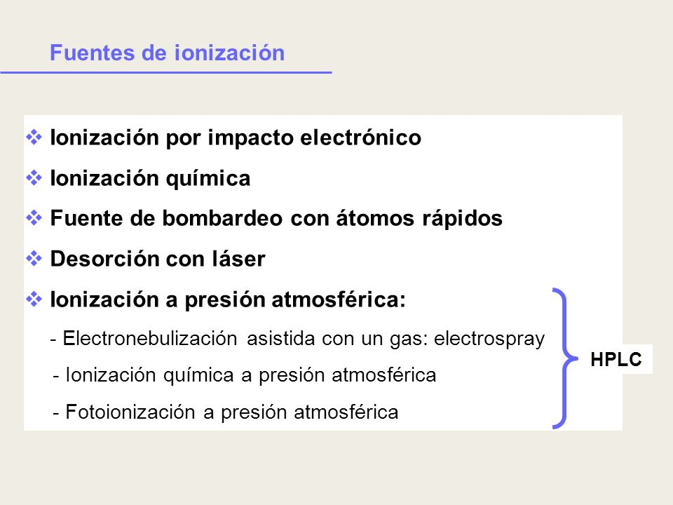 Ionización por impacto electrónico Ionización química Fuente de bombardeo con átomos rápidos Desorción con láser Ionización a presión atmosférica: - E