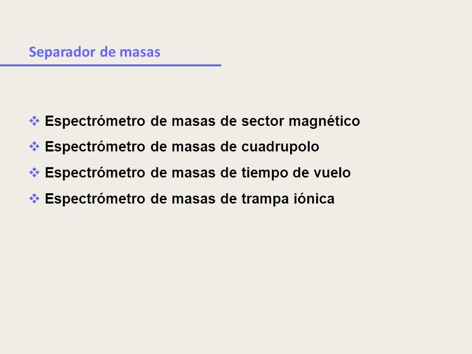 Espectrómetro de masas de sector magnético Espectrómetro de masas de cuadrupolo Espectrómetro de masas de tiempo de vuelo Espectrómetro de masas de tr