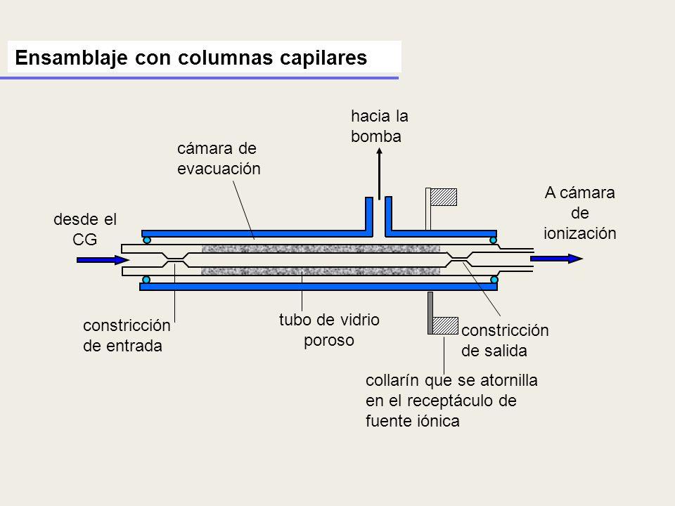 desde el CG constricción de salida tubo de vidrio poroso cámara de evacuación hacia la bomba collarín que se atornilla en el receptáculo de fuente ión