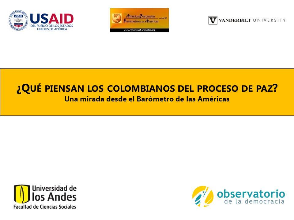 C ONTENIDO 1.LAPOP y el Barómetro de las Américas 2.El estudio de 2013 en Colombia 3.Las experiencias con el conflicto 4.El proceso de paz y la negociación 4.1 Actitudes generales frente al proceso 4.2 Justicia transicional 4.3 Participación política 5.La agenda de negociación 6.El post-conflicto 7.Conclusiones generales