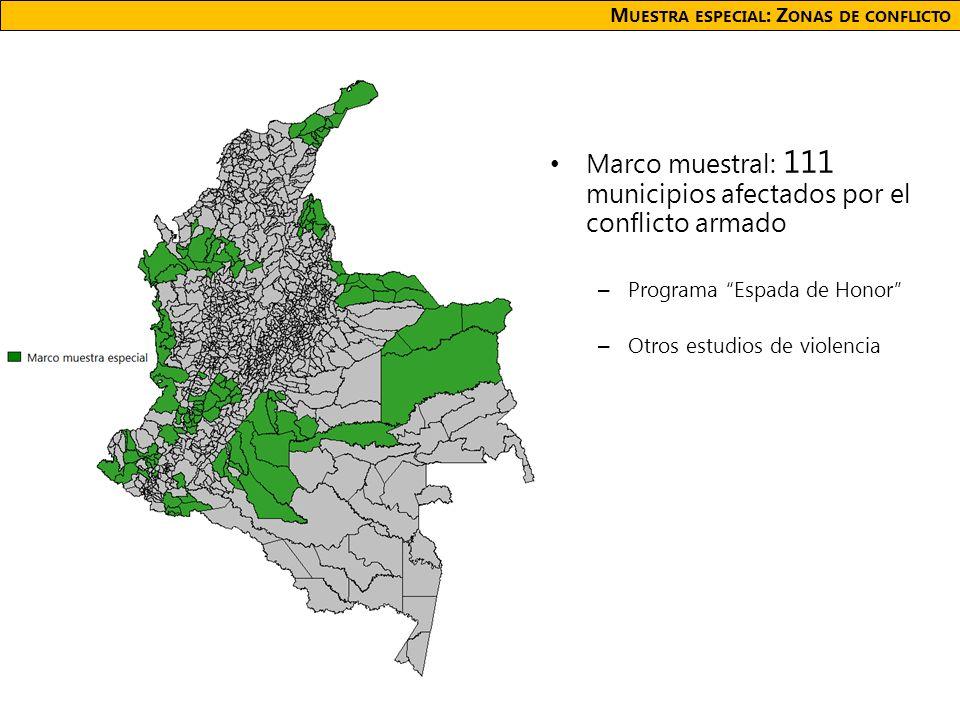 M UESTRA ESPECIAL : Z ONAS DE CONFLICTO Marco muestral: 111 municipios afectados por el conflicto armado – Programa Espada de Honor – Otros estudios de violencia