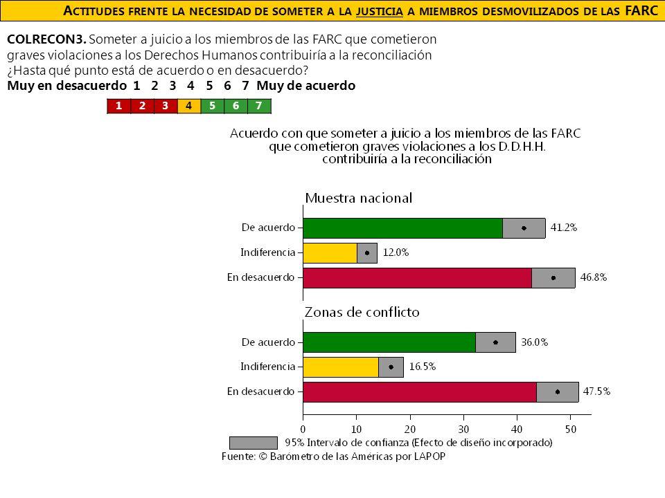 A CTITUDES FRENTE LA NECESIDAD DE SOMETER A LA JUSTICIA A MIEMBROS DESMOVILIZADOS DE LAS FARC COLRECON3.
